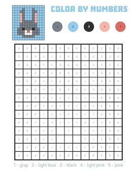 番号による色、子供のための教育ゲーム、ウサギ