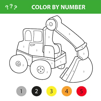 Color by number educational game for kids. cartoon excavator. vector illustration for schoolchild and preschool
