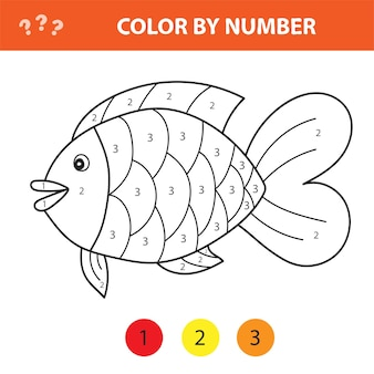 Color by number educational game for kids. illustration for schoolchild - fish. easy level