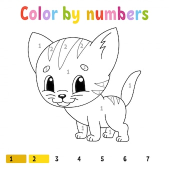 Color by numbers. coloring book for kids. cheerful character. .