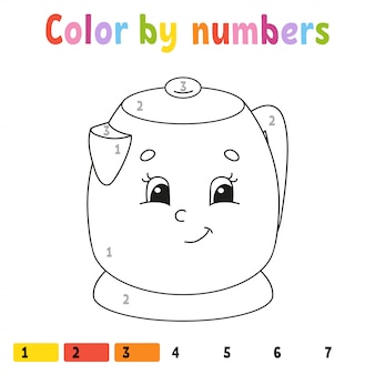 Color by numbers, coloring book for kids