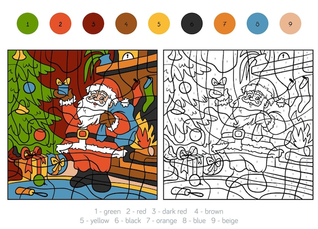 Раскраска по номерам, развивающая игра для детей, дед мороз и подарок