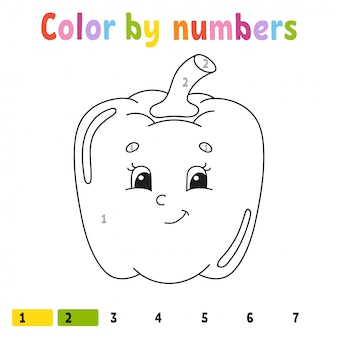 Color by numbers pepper. coloring book for kids. vegetable character. vector illustration.