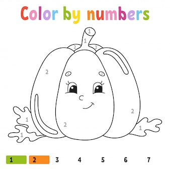Color by numbers pumpkin. coloring book for kids. vegetable character.