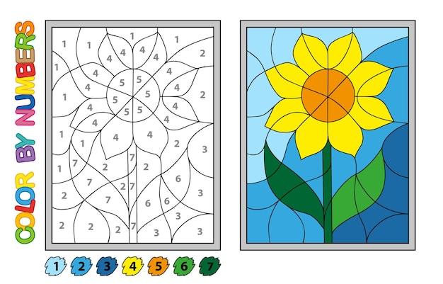 Раскрашиваем по номерам. игра-головоломка для обучения детей. числа и цвета для рисования и изучения математики. векторные цветы