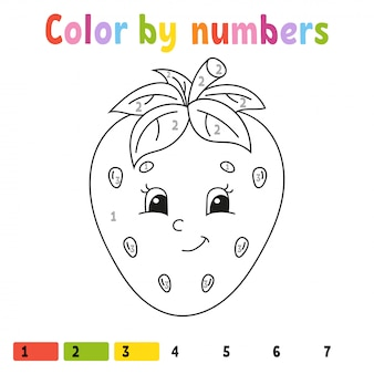 Color by numbers strawberry. coloring book for kids. food character.