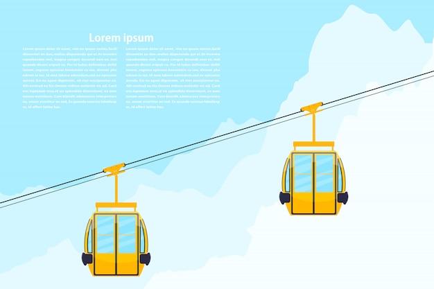 Цветная кабина канатной дороги. элемент дизайна канатной дороги. кабина покрашенная конспектом на предпосылке гор. векторная иллюстрация