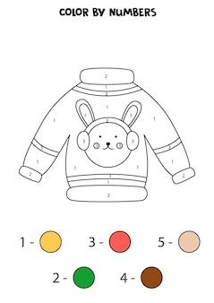 Color cartoon christmas sweater by numbers. worksheet for kids.