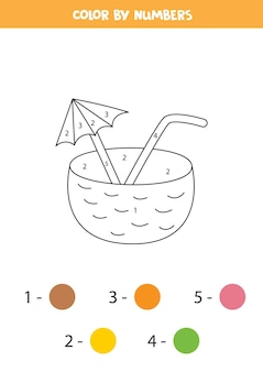 Color cartoon coconut cocktail by numbers. worksheet for kids.