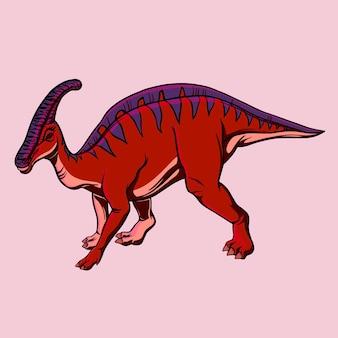 印刷用のハドロサウルス恐竜のカラー漫画の描画。子供のためのイラスト。ベクトルクリップアート