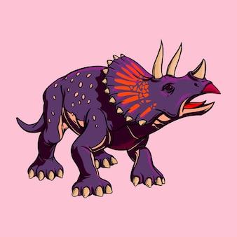 印刷用のトリケラトプス恐竜のカラー漫画の描画。子供のためのイラスト。ベクトルクリップアート