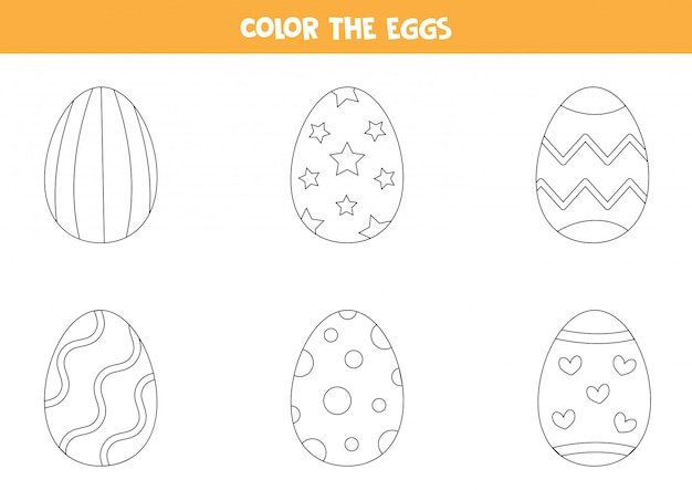 Premium Vector Color Cartoon Easter Eggs Coloring Page For Kids
