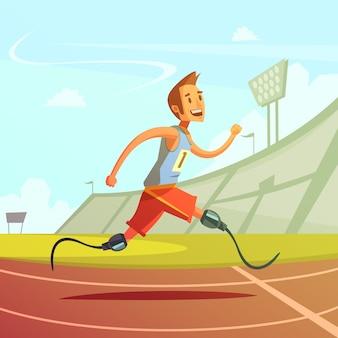 Color cartoon illustration depicting disabled runner prosthesis instead of legs vector illustration