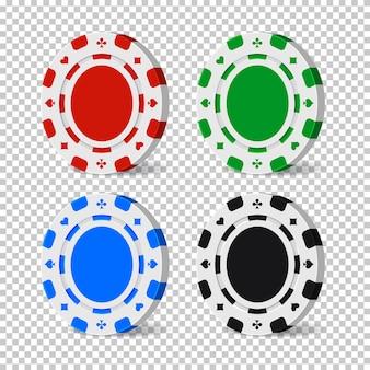 Фишки казино цвета, изолированные на прозрачном фоне.
