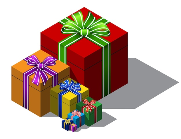 색상 크리스마스 선물 상자