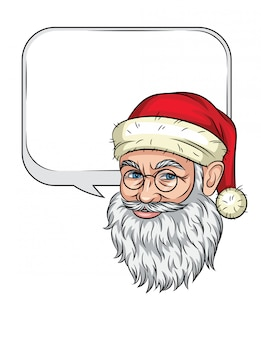 Color christmas illustration of realistic santa claus's head. smiling santa claus face isolated with speech bubble