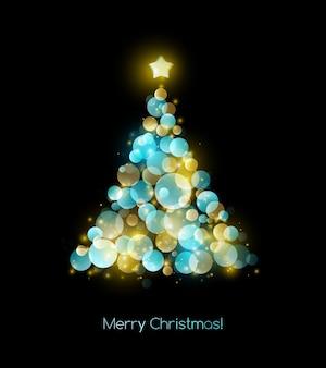 色のクリスマスツリー。休日の背景