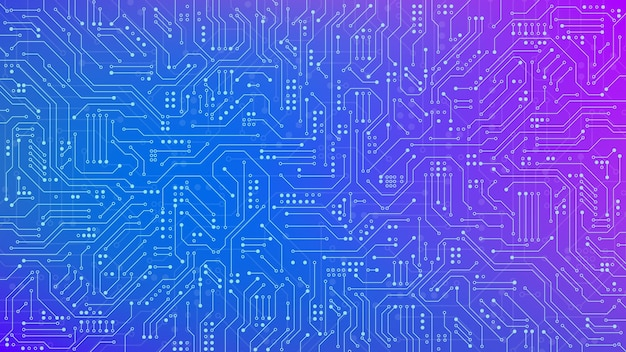 Color circuit board texture for banner. electronic motherboard connection and lines