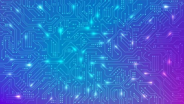 バナーのカラー回路基板のテクスチャ。抽象的な技術の背景。電子マザーボード接続ラインと信号。