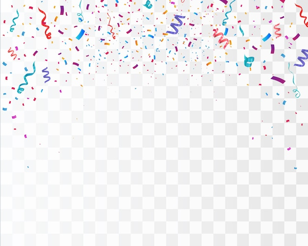 Color confetti isolated on white background.