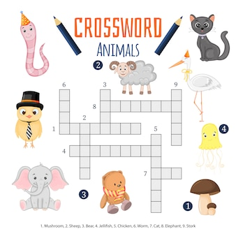 Color crossword, education game for children about animals