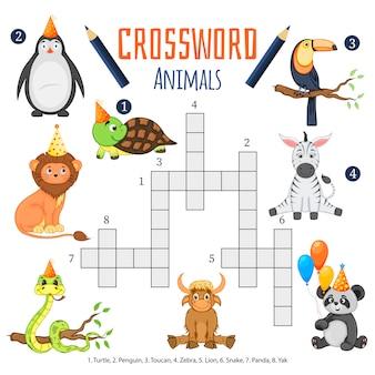 동물에 대한 어린이를위한 컬러 크로스 워드 퍼즐 게임 프리미엄 벡터