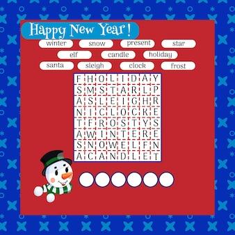 색상 크로스 워드 퍼즐, 크리스마스와 겨울 심볼에 대한 어린이를 위한 교육 게임. 벡터 일러스트 레이 션