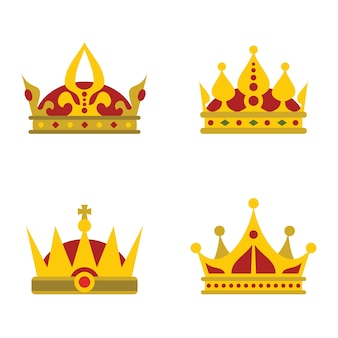 Color crown icons on white background for queen and prince