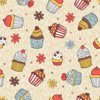 色のカップケーキのシームレスパターン