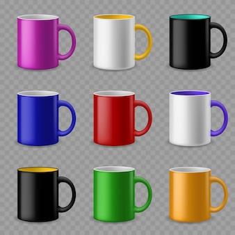 컬러 컵. 다양한 음료를 위한 세라믹 다채로운 컵 템플릿, 브랜딩 아이덴티티 디자인. 도자기 머그잔 벡터 현실적인 이랑