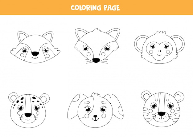 Color cute animal faces. coloring page for children.