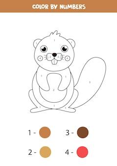 数字でかわいい漫画ビーバーを色します。子供のための教育数学ゲーム。子供のための着色ワークシート。