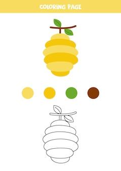 かわいい漫画の蜂の巣を着色します。子供のためのワークシート。