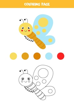 Color cute cartoon butterfly. worksheet for kids.