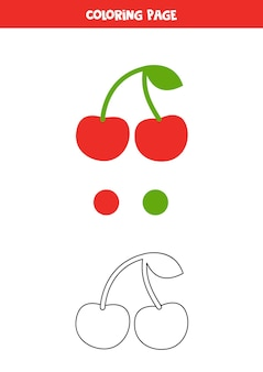 Color cute cartoon cherry. worksheet for kids.