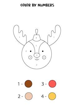 숫자로 귀여운 만화 크리스마스 공을 색칠합니다. 아이들을 위한 워크시트.