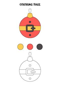 Color cute cartoon christmas ball. worksheet for kids.