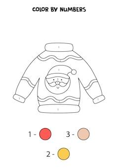 숫자로 귀여운 만화 크리스마스 스웨터를 색칠합니다. 아이들을 위한 워크시트.