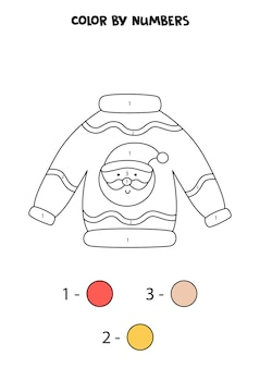 Color cute cartoon christmas sweater by numbers. worksheet for kids.