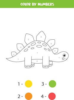 color cute cartoon dinosaur by numbers. coloring page for kids.