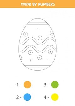 Color cute cartoon easter egg by numbers. coloring page for kids.
