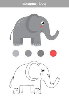 색상 귀여운 만화 코끼리입니다. 아이들을 위한 워크시트.