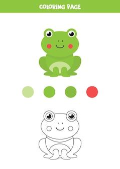 色かわいい漫画のカエル。子供のためのワークシート。