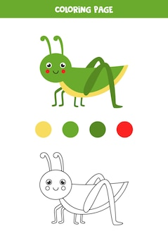 色かわいい漫画バッタ。子供のためのワークシート。