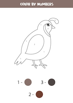 Color cute cartoon quail by numbers. educational math game for kids. printable worksheet for children.