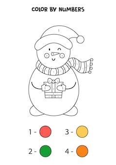 Color cute cartoon snowman by numbers. worksheet for kids.