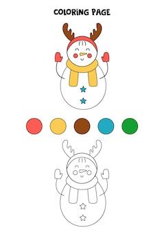 Color cute cartoon snowman. worksheet for kids.