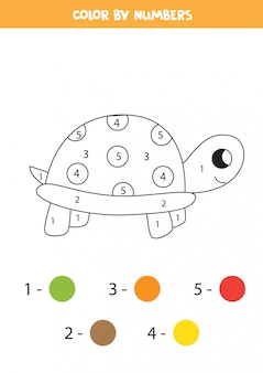 Color cute cartoon turtle by numbers. coloring page for kids.