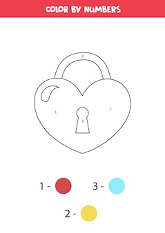 Color cute cartoon valentine lock in shape of heart by numbers