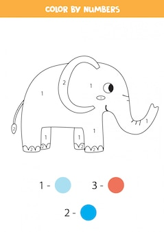 Color cute elephant by numbers. printable math game.